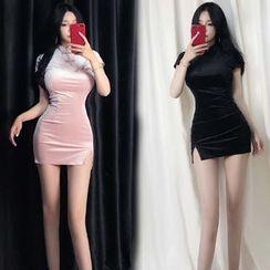 Heartsily - Short-Sleeve Mini Qipao