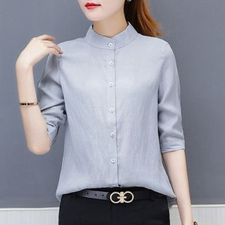 In the Mood - Plain 3/4-Sleeve Blouse