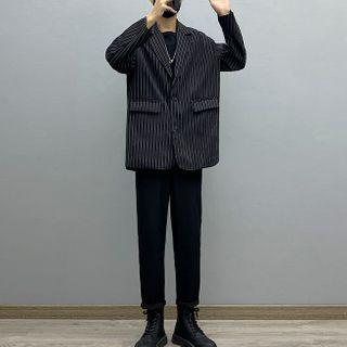 Avilion - Striped Blazer / Straight-Leg Pants / Long-Sleeve T-Shirt