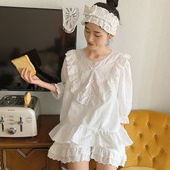 PinkRosa - Long-Sleeve / 3/4-Sleeve Lace Ruffle Pajama Set