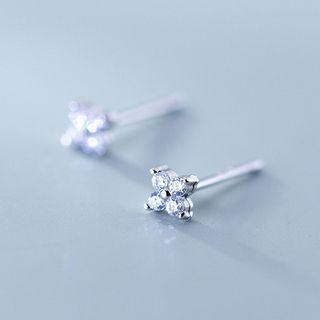 A'ROCH - 925 Sterling Silver Rhinestone Clover Stud Earrings