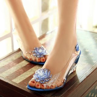 Freesia - 缀饰透明船跟凉鞋