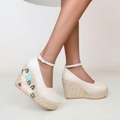 Megan - Platform Wedge Heel Floral Embroidered Sandals