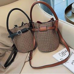 Miloes - Double-Strap Crossbody Houndstooth Bucket Bag