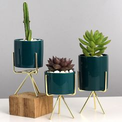 miss house - Ceramic Pot with Metal Stand