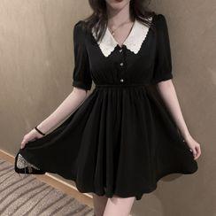 Windflower - Short-Sleeve Collar Mini A-Line Dress