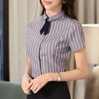 Ice Cloud - 短袖條紋襯衫 / 迷你鉛筆裙 / 無袖塑身連衣裙 / 套裝