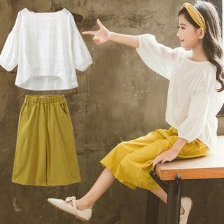 Chisy - Kids Set: 3/4-Sleeve Top + Wide-Leg Cropped Pants