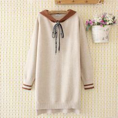 Aigan - Color Block Knitted Hoodie Dress