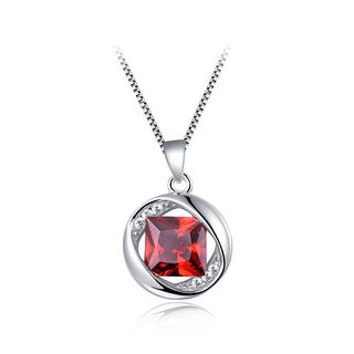 BELEC - 925 Sterling Silver January Birthday Pendant with Red Cubic Zircon and Necklace