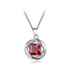 BELEC(ベレック) - 925 Sterling Silver January Birthday Pendant with Red Cubic Zircon and Necklace