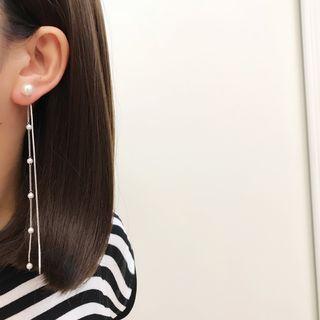 Mimishi - Faux Pearl Dangle Chain Clip-On Earring