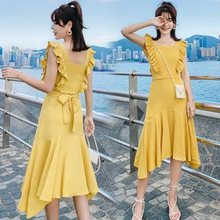 Tanzil - Ruffle Trim Sleeveless Midi A-Line Dress