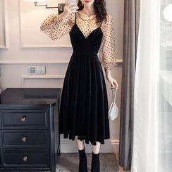 Tidel - Set: Lantern-Sleeve Dotted Top + Spaghetti Strap Midi Velvet Dress