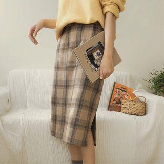 Leoom - Straight Cut Midi Plaid Skirt