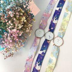 Hello minto - Patterned Ribbon Strap Watch