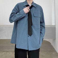Citigleam - Plain Shirt with Neck Tie