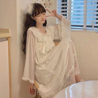 Sisyphi - Long-Sleeve Lace Trim Pajama Dress