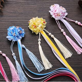 Fenix - Traditional Chinese Flower Tassel Hair Clip / Set