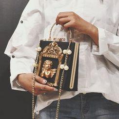 Ginadore - Bolso cartera con cuentas y correa de cadena