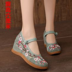 Kyotopia - Floral Embroidered Frog-Button Wedge Heel Mary Jane Pumps