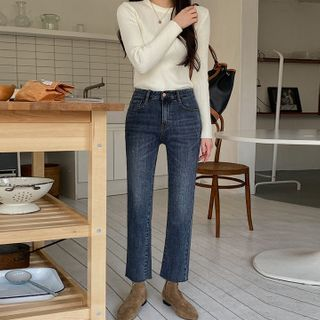 MERONGSHOP - Napped Straight-Cut Jeans