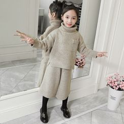 Qin Qin - Set: Kids Plain Turtleneck Sweater + Knit Pants