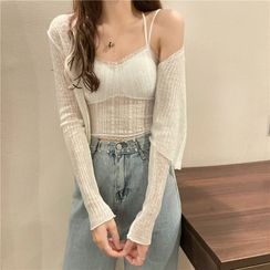 Magimomo - Long-Sleeve Cropped Cardigan with Camisole