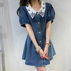 Baage - Puff-Sleeve Floral Embroidered Denim Dress