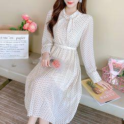 Petit Lace - Long-Sleeve Print Chiffon Dress