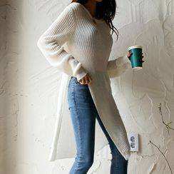 DEEPNY - Deep-Slit Long Rib-Knit Top
