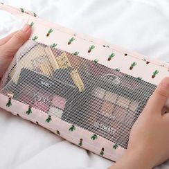 Popcorn - 旅行印花网纱拼接化妆品小袋