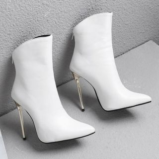 Comof - Faux Leather Pointed Toe Stiletto Short Boots