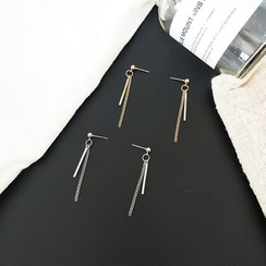 Scoria - Bar & Fringe Drop Earrings