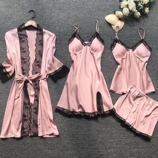 Almilo - Pajama Set: Camisole Top + Shorts + Spaghetti Strap Dress + Robe