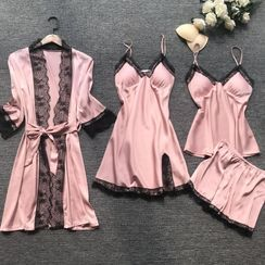 Almilo - Pajama Set: Lace Trim Camisole Top + Shorts + Spaghetti Strap Pajama Dress + Lace Trim Robe
