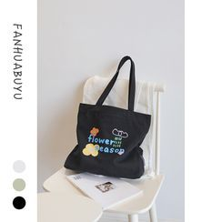 wallFLOWERz - Lettering Print Canvas Tote Bag