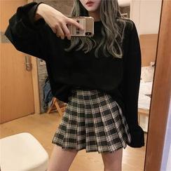 Flowerisque - Knife-Pleat Plaid Mini Skirt