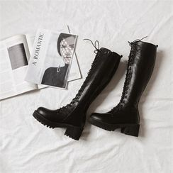 MONOBARBI - Platform Lace-Up Long Boots