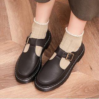 Megan Platform Block Heel T-Strap Mary