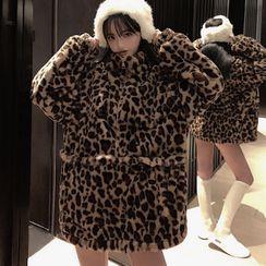Rhames - Leopard Print Chenille High-Neck Zip Long-Sleeve Jacket