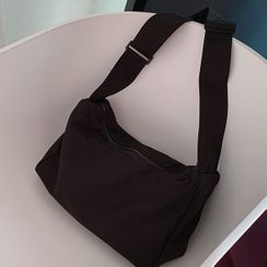 Bibiba - Plain Wide Strap Zip Crossbody Bag