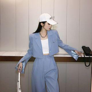 Street of Seoul - Set: Cropped Blazer + Wide-Leg Dress Pants