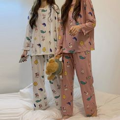Dute - Pajama Set: Print Long-Sleeve Top + Lounge Pants