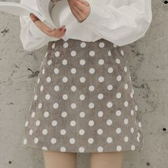 SOMUI - Polka Dot Midi A-Line Skirt