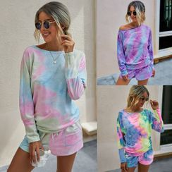 Charaboom - Set: Long Sleeve Tie Dye Printed T-Shirt + Drawstring Shorts