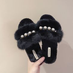 Hipsole - Faux Pearl Furry Slippers