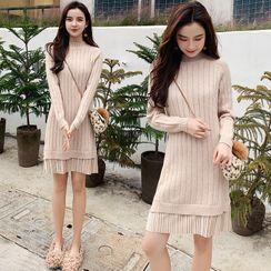 Yaonee - Mock Two-Piece Long-Sleeve Knit Dress