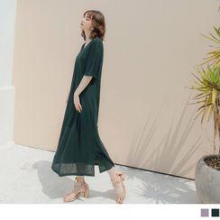 OrangeBear - V-Neck Knit Maxi Dress with Slipdress