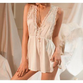 Chrissie - Lace-Trim Sleeveless Nightdress